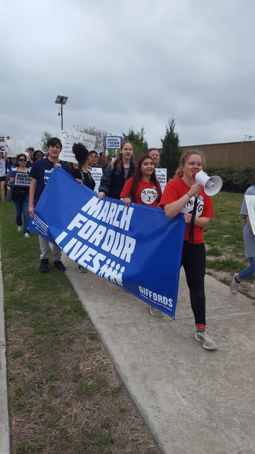 Pflugerville March for our Lives led by CRHS student, Jamie Burgin.