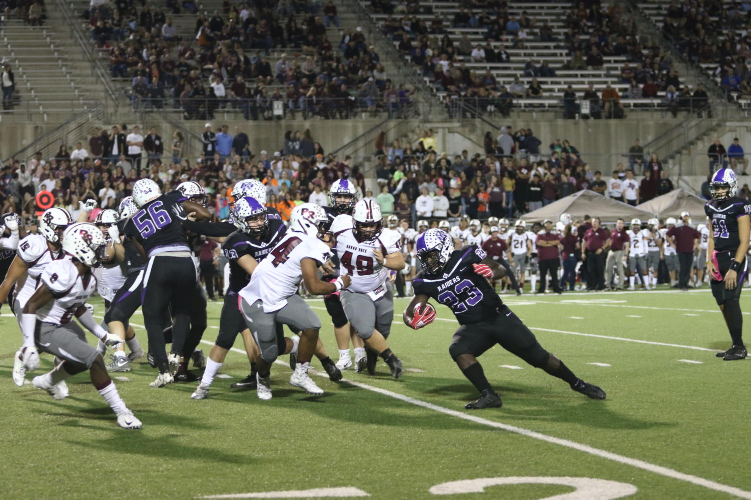 Jacoryan Isaac (11) rushes the ball against Round Rock on October 26th.